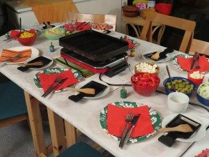 table cloth with appetizers and party items