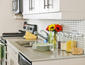 clean kitchen with bright spring flowers