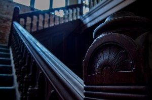 house with dark staircase