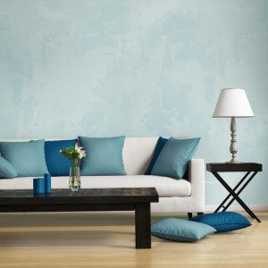 blue and white furnishings
