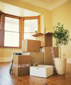 boxes and household items in moving boxes