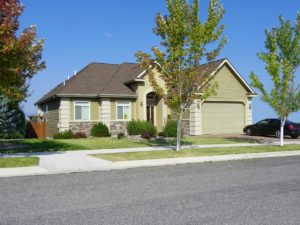 home with landscaped yard
