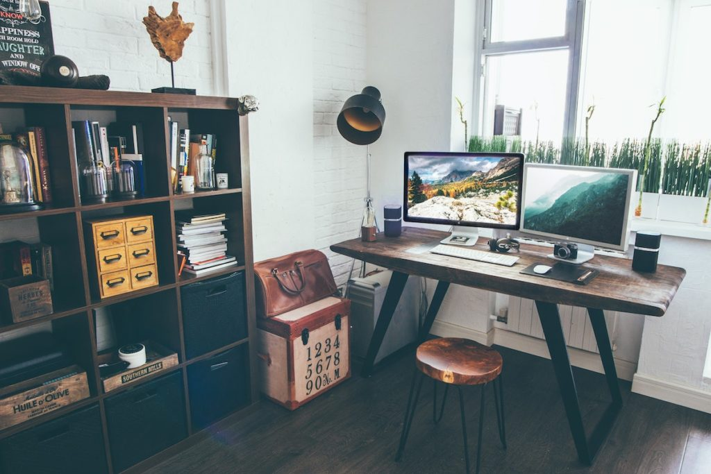 Shelving in a home office