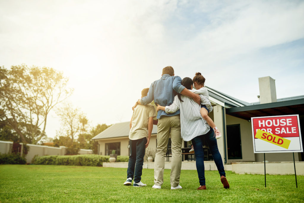 Family buying a home