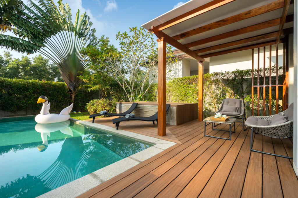 Pool with deck and chairs